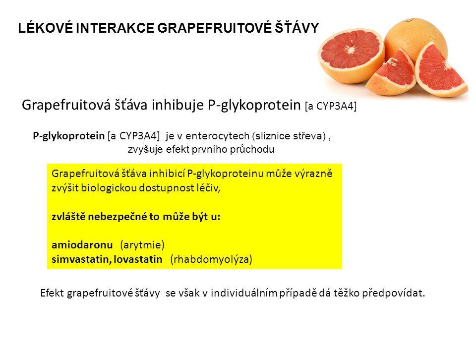 Grapefruitová šťáva inhibuje P-glykoprotein [a CYP3A4]